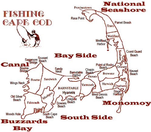 Cape Cod Fishing Map